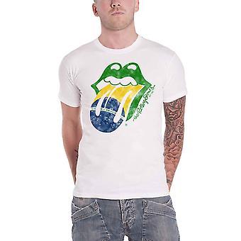Rolling Stones T-paita Brasilia Tongue Band Logo uusi virallinen Miesten valkoinen