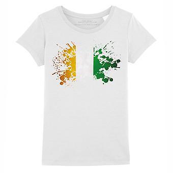 STUFF4 Girl's Round Neck T-Shirt/Ivory Coast Flag Splat/White