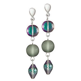 Eternal Collection rauhallisuus sävyjä vihreä ja violetti kristalli pudota leikkeen korvakorut
