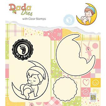 Nellie's Choice DADA Die with clear stamp Its a boy: on the moon DDCS011 52x55mm