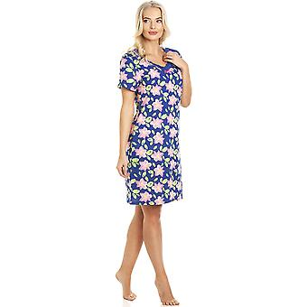 Camille Pink Floral Print Navy Blue Cotton Nightdress
