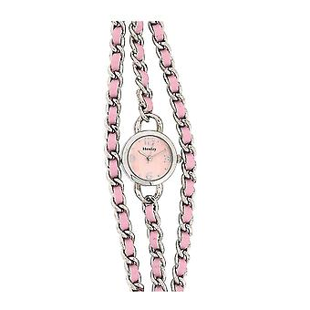 Henley Glamour Pink Dial Multi Chain Pink Bracelet Strap Dress Watch H07178.5