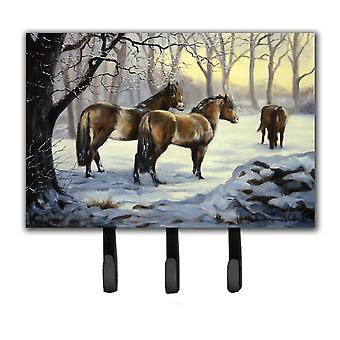 Horses in Snow door Daphne Baxter Leash of Key Holder