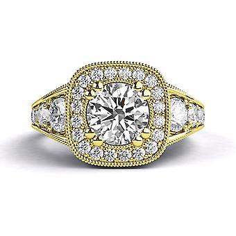 2.30ct White Sapphire and Diamonds Ring Yellow Gold 14K Art Deco Round