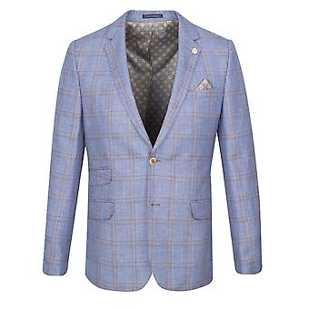 Guide London Light Blue With Tan Check Suit Jacket