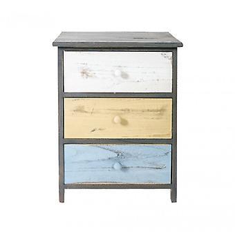 Meble Rebecca Comodino Dresser 3 Szuflady z szarego drewna Beige 56x40x29