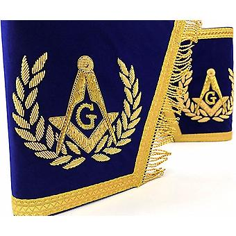Masonic gauntlets cuffs - embroidered with fringe - blue-nanba