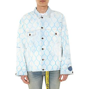 Off-white Omye051s203860307131 Men's Light Blue Cotton Outerwear Jacket