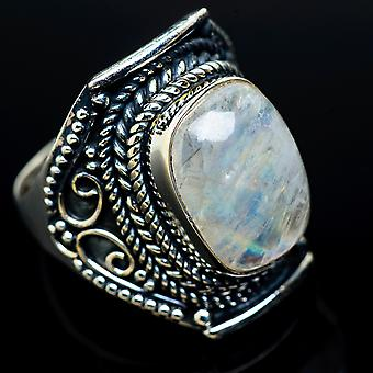 Rainbow Moonstone Ring Size 7.75 (925 Sterling Silver)  - Handmade Boho Vintage Jewelry RING11458