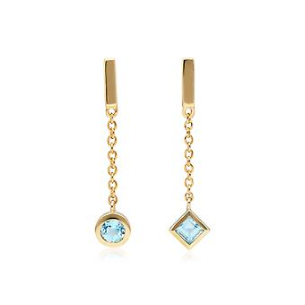 Micro Statement Mismatched Blue Topaz Dangle Earrings in 9ct Yellow Gold 135E1634019