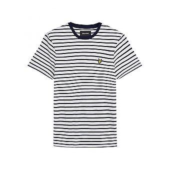 Lyle & Scott Lyle Breton Stripe T Skjorte Navy Hvit