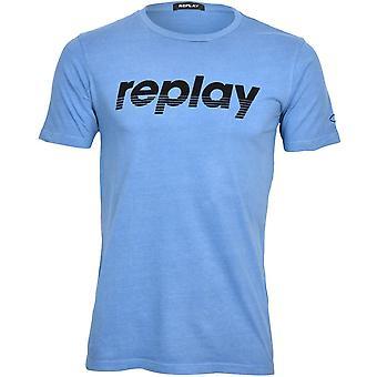 Replay Retro Filt Logo T-skjorte, Azure Blå