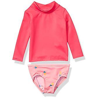 Essentials UPF 50- Baby Girls Set rash guard a maniche lunghe a 2 pezzi, ananas rosa, 12M