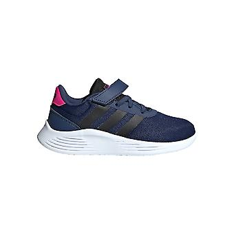 adidas Lite Racer 2.0 Junior Kids Girls Strap Sports Trainer Schoen Navy Blauw /Roze
