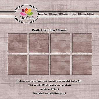 Dixi Craft Rustik Jul Brown 6x6 Tommer Papir Pad