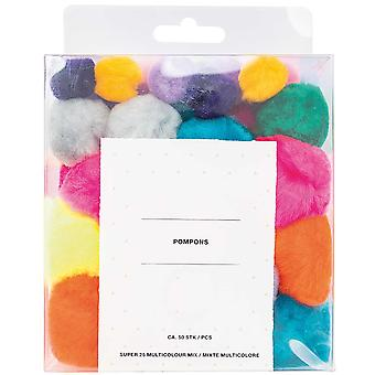 50 Super Fluffy akryl Craft Pom Poms - Bright Mix (15 till 45mm)