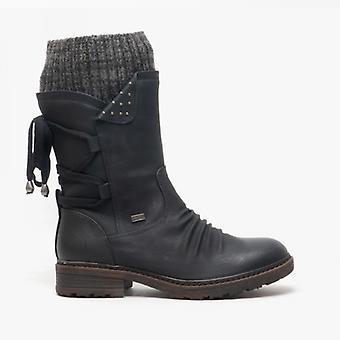ريكر 94773-00 السيدات الرمز البريدي حتى العجل طول الأحذية الأسود