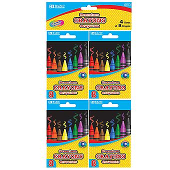 2513-24, BAZIC 8 Color Premium Quality Crayon (4/Pack)