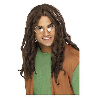Mens Brown Dreadlock peluca disfraces accesorios