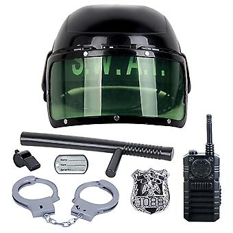 Police Role Play Set - Helmet, Cop, Handcuffs, Walkie Talkie And Badge Pretend
