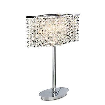 Tafellamp 2 Licht gepolijst chroom, kristal