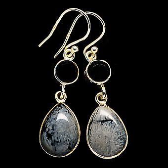 """Snowflake Obsidian, Black Onyx Earrings 1 5/8"""" (925 Sterling Silver)  - Handmade Boho Vintage Jewelry EARR405834"""