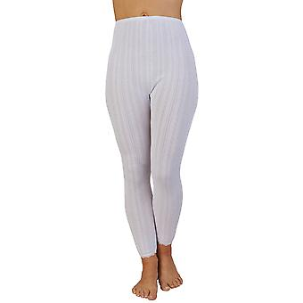 Slenderella UW409 Women's White Brushed Cotton Thermal Ankle Length Leggings