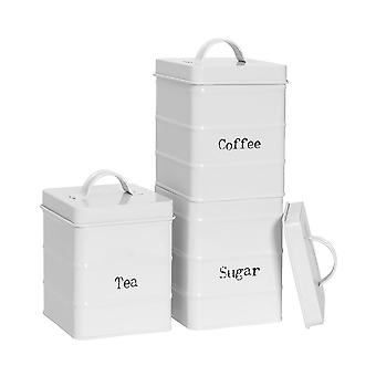 3 Peças Vintage Tea Coffee and Sugar Storage Canisters - Metal Square Jar Airtight Seal - Matte White
