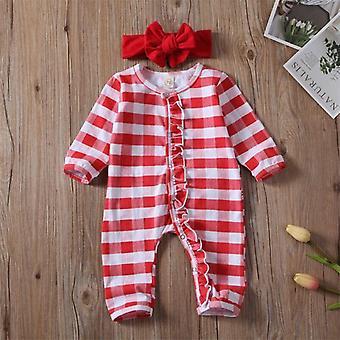 Vastasyntynyt vauva joulu romper raidallinen pyjama vaatteet asu sleepwear