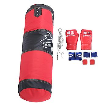 Empty Boxing Hanging Kick Sandbag With Gloves Wrist Guard