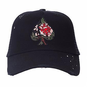 Ass Vestiti | Nuace-10 Farbe Blüte Spaten Trucker Mesh Baseball Cap - schwarz