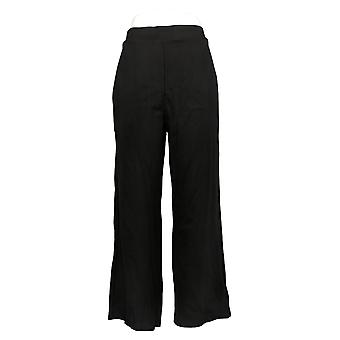 BROOKE SHIELDS Timeless Women's Petite Pants Ponte Wide-Leg Black A346104