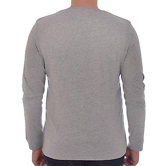 Wrangler Mens Modern Americana Long Sleeve Crew Neck Graphic T-Shirt Tee - Grey
