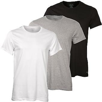 Calvin Klein 3-Pack Pure Cotton Crew-Neck T-Shirts, Noir/Blanc/Gris