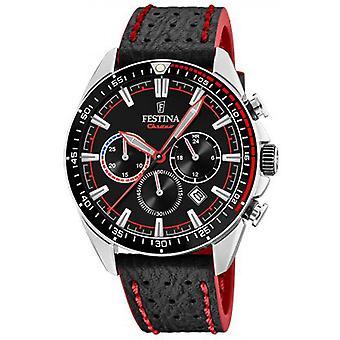 Festina originaler Se F20377-6 - stål klokke ekstern svart lær armbånd svart mannlig rød søm
