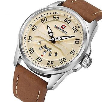 NAVIFORCE NF9124 Men Watch Sport Leather Strap Simple Dial Male Quartz Wrist