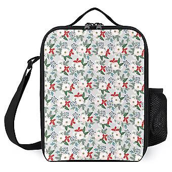 Christmas Floral Printed Insulated Lunch Box For School