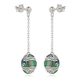 ADEN 925 Sterling Silver Abalone Mother-of-pearl Oval Shape Earrings (id 4266)