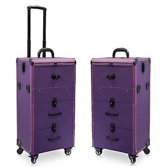 Suuren kapasiteetin vaunu kosmeettinen kotelo rullaa matkalaukku laukku / kynnet meikki työkalupakki