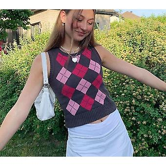 Plaid Knitted Sweater Vest Y2k Sleeveless Cropped Tops Pullover Harajuku