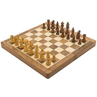 """ديلوكس خشبية قابلة للطي السفر 14 بوصة """"تعيين الشطرنج"""""""