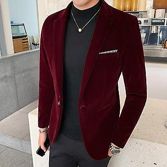 Autum Velvet Wedding Dress Coat, Mens Blazer, Jacket Casual Suit, Dj Men's