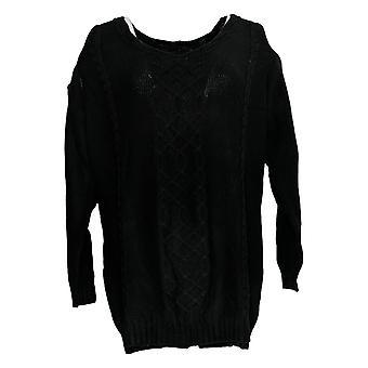 Laurie Felt Women's Sweater Cable Knit Cold Shoulder Black A295838