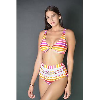 Pruhované Pom Pom vysoký pás Bikini Set