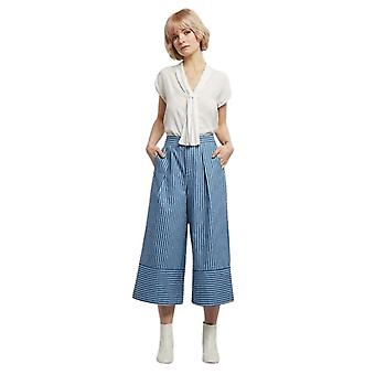Louche Womens Genia Stripe Chambray Wide Leg Culottes Chambray
