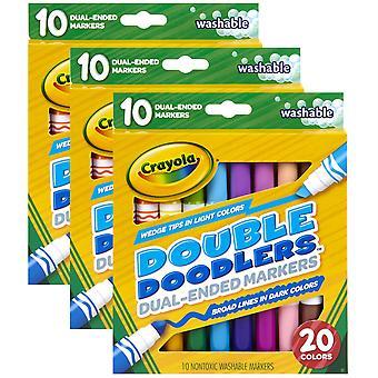 Marcadores de Doodlers dobles lavables de doble extremo, 10 por paquete, 3 paquetes