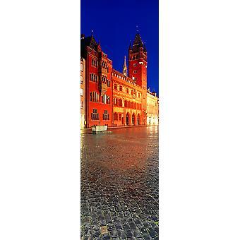 Basel Town Hall at night Market Square Basel Switzerland Poster Print