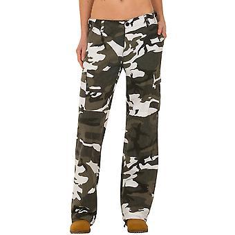 Pantalones de pierna ancha camuflaje carga - verde y blanco