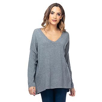 Overdimensjonert strikket V-hals genser
