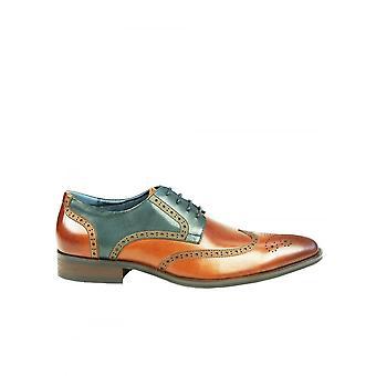 Azor Obuwie Azor Missori Męskie Dwa Tonowe Brogue Lace Up Shoe Tan /navy